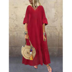 New              Long Sleeve V-neck Loose Causal Solid Maxi Dress