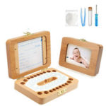 New              Wooden Kids Baby Tooth Box Milk T eeth Organizer Flip Cover Collect Storage Box Cutton Boy Girl Gift Kid Present Photo Note Case Tool Box