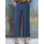 New              Women Elastic Waist Wide Leg Long Pants