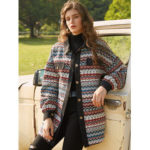 New              Vintage Jacquard Patch Corduroy Button Long Sleeve Coats