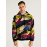 New              Mens Hit Color Stripe Muff Pocket Casual Long Sleeve Hoodies