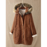 New              Corduroy Solid Color Plush Hooded Long Sleeve Coats