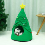 New              Christmas Tree Elk Pet House Breathable Semi Closed Soft Cat House Green Cat Dog Bed