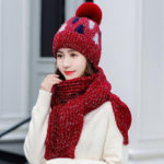 New              Thickening Christmas Wool Hat Wool Knit Hat Scarf Set