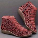 New              Women Plus Size Suede Leopard Grain Comfy Casual Ankle Boots