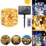 New              12M 22M Remote Control LED Solar String Light 8 Modes IP65 Waterproof Christmas Holiday Lamp Decor