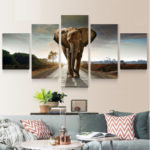 New              5pcs Large Abstract Elephant Print Art Picture Home Wall Decor Paintings Unframed For Room Decorations