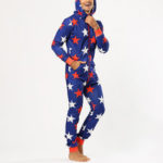 New              Men Funny Stars Printing Onesies Hooded Jumpsuit