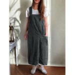 New              Women Japanese Style Kitchen Solid Color Cotton Aprons