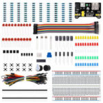 New              Electronics Component Basic Starter Kits with 400 Tie-points Breadboard Cable Resistor Capacitor LED Potentiometer