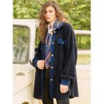 New              Fleece Patchwork Solid Color Irregular Hem Long Sleeve Coats