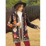 New              Vintage Print Corduroy Long Sleeve Coats For Women