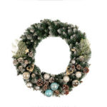 New              50cm White Pine Cones Christmas Wreath Colored Balls Christmas Flower Cane Christmas Tree Ornaments Green Tree Cane Tinsel Party Decorations