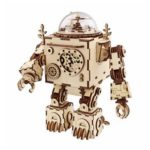 New              DIY Music Box Set Music Clockwork Wooden Robot Puzzle Assembly Music Box Christmas Gift for Kids