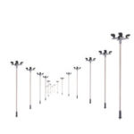 New              10Pcs/Set HO Scale 1:100 Model Railroad Train LED Street Light Lamps Post 4 Heads Street Light