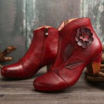 New              SOCOFY Women Retro Flower Genuine Leather Ankle Short Boots