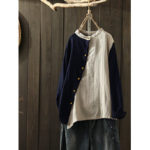 New              Side Button Crew Neck Two-tone Patch Vintage Blouse