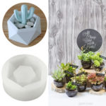 New              Hexagon Flower Pot Silicone Molds DIY Garden Planter Concrete Vase Soap Mould