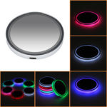 New              LED Car Cup Holder Pad Mat Auto Atmosphere Interior Lights USB Rechargeable