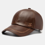 New              Men's Faux Leather Baseball Cap With Letter Embroidery