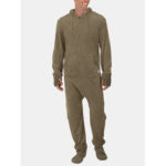 New              Men Flannel Thick Plain Onesies Loungewear Thermal Thumb Ho