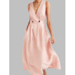 New              Solid Color V-neck Button Sleeveless Summer Dress