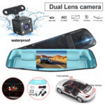 New              1080P HD Dual Lens Car DVR Video Cam Mirror Recorder With Rear View Camera
