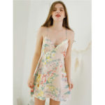 New              Floral Printed Backless Spaghetti Cross Straps Nightgown