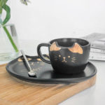 New              200ML Cat Gold Ceramic Coffee Cup Dish Restaurant With Dish Water Cup Office Cup Tea Cup