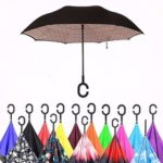 New              Double Layer Blossom Design Ultraviolet-Proof Upside Down Inverted Umbrella C-Shaped Handle Windproof Parasol For Men Women