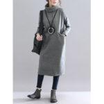 New              Solid Color Turtleneck Loose Causal Sweatshirt Dress