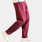 New              Mens Vintage Linen Plus Size Drawstring Solid Color Pants