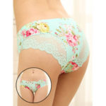 New              Mid Waist Floral Print Seamless Ice Silk Briefs