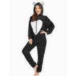 New              Flannel Front Zip Polka Dot Onesie Animals Pajamas