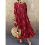 New              Women Loose O-neck Polka Dot 3/4 Sleeve Maxi Dress