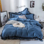 New              4PCS Solid Color Embroidery Lace Purfle Bedding Set Soft-smooth Duvet Cover Sheet Pillowcases King /Queen Size