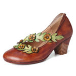 New              SOCOFY Women Flower Decoration Genuine Leather Spring Pumps