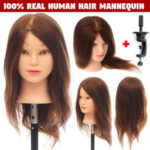 "New              100% Real Human Hair Mannequin Salon Hairdressing 18"" Training Head + Clamp"