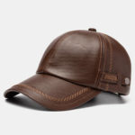 New              Buttons Letter Embroidery Faux Leather Baseball Cap