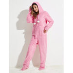 New              Flannel Long Sleeve Hoodie Jumpsuits With Pocket