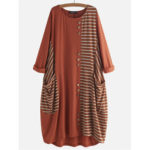 New              Button Stripe Patchwork Loose Baggy Causal Dress