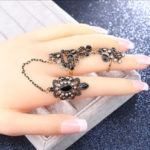 New              Gold Plated Rhinestone Adjustable Double Rings