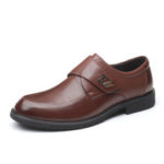 New              Hook&Loop Cowhide Soft Sole Casual Business Oxfords