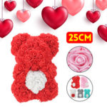 New              DIY Artificial Rose Flower Bear 25cm Beautiful For Wedding Birthday Gift Decorations