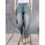 New              Plus Size Women Casual Loose Denim Pants with Pockets