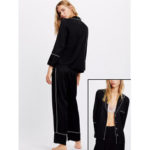 New              Lapel Silky Soft Long Sleeve Button-Down Loungewear Pajamas