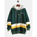 New              Men's Casual Sweatshirt Trend Fashion Loose Color-blocked Ho