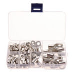 New              60Pcs Silver SC Bare Terminals lug Tinned Copper Tube Lug Ring Seal Battery Wire Connector Bare Cable Crimped/Soldered Terminal Kit