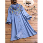 New              Plus Size Floral Embroidery Long Sleeve Vintage Long Shirts
