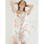 New              Summer Satin Floral Printed Lapel Short Sleeve Pajama Set